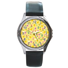 Easter - chick and tulips Round Metal Watch