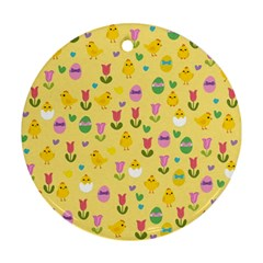 Easter - chick and tulips Ornament (Round)