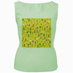 Easter - chick and tulips Women s Green Tank Top