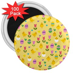 Easter - chick and tulips 3  Magnets (100 pack)