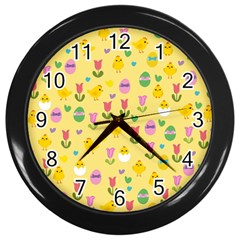 Easter - chick and tulips Wall Clocks (Black)