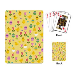 Easter - chick and tulips Playing Card