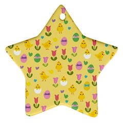 Easter - chick and tulips Star Ornament (Two Sides)