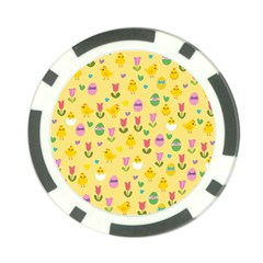 Easter - chick and tulips Poker Chip Card Guard