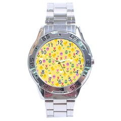 Easter - chick and tulips Stainless Steel Analogue Watch