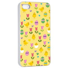 Easter - chick and tulips Apple iPhone 4/4s Seamless Case (White)