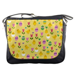 Easter - chick and tulips Messenger Bags