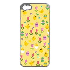 Easter - chick and tulips Apple iPhone 5 Case (Silver)