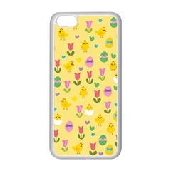 Easter - chick and tulips Apple iPhone 5C Seamless Case (White)