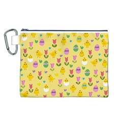 Easter - chick and tulips Canvas Cosmetic Bag (L)
