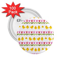 Easter - chick and tulips 2.25  Buttons (100 pack)