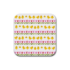 Easter - chick and tulips Rubber Coaster (Square)