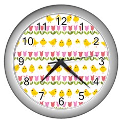 Easter - chick and tulips Wall Clocks (Silver)