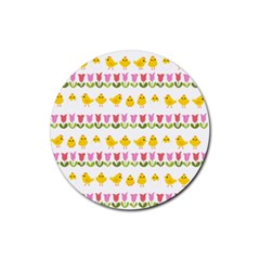 Easter - chick and tulips Rubber Round Coaster (4 pack)