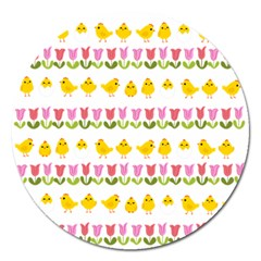 Easter - chick and tulips Magnet 5  (Round)