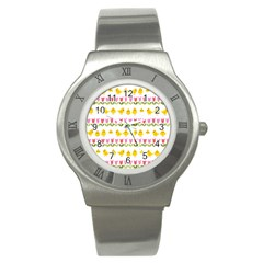 Easter - chick and tulips Stainless Steel Watch