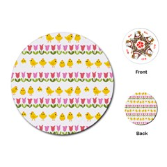 Easter - chick and tulips Playing Cards (Round)