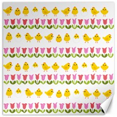 Easter - chick and tulips Canvas 16  x 16