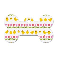 Easter - chick and tulips Dog Tag Bone (One Side)
