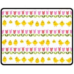 Easter - chick and tulips Fleece Blanket (Medium)