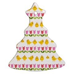Easter - chick and tulips Christmas Tree Ornament (Two Sides)