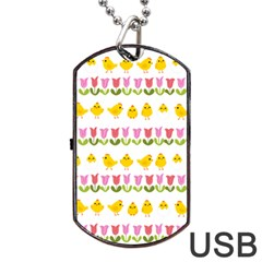 Easter - chick and tulips Dog Tag USB Flash (Two Sides)