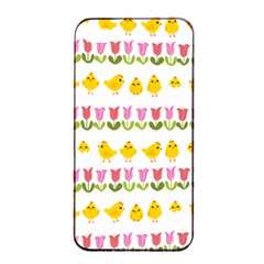 Easter - chick and tulips Apple iPhone 4/4s Seamless Case (Black)