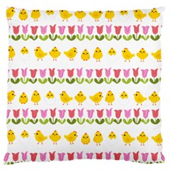Easter - chick and tulips Large Cushion Case (One Side)