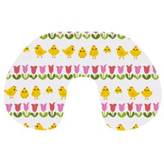 Easter - chick and tulips Travel Neck Pillows