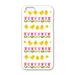Easter - chick and tulips Apple iPhone 6/6S White Enamel Case