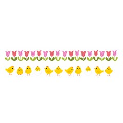 Easter - chick and tulips Satin Scarf (Oblong)