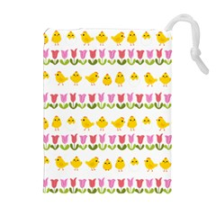 Easter - chick and tulips Drawstring Pouches (Extra Large)