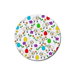 Easter lamb Rubber Round Coaster (4 pack)