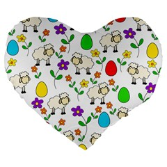 Easter lamb Large 19  Premium Heart Shape Cushions