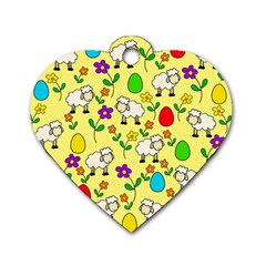 Easter lamb Dog Tag Heart (Two Sides)