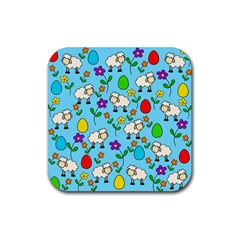 Easter lamb Rubber Coaster (Square)