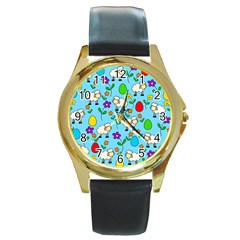 Easter lamb Round Gold Metal Watch