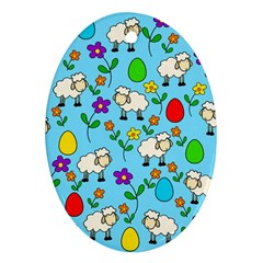 Easter lamb Oval Ornament (Two Sides)