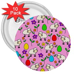 Easter lamb 3  Buttons (10 pack)