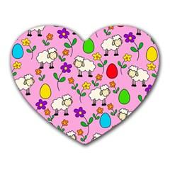 Easter lamb Heart Mousepads