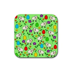Easter lamb Rubber Square Coaster (4 pack)