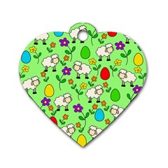 Easter lamb Dog Tag Heart (One Side)