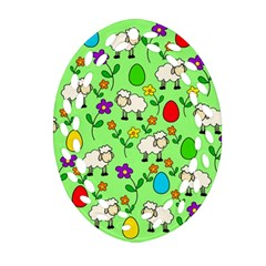 Easter lamb Oval Filigree Ornament (Two Sides)