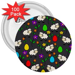 Easter lamb 3  Buttons (100 pack)
