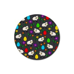 Easter lamb Rubber Coaster (Round)