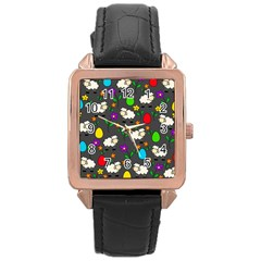 Easter lamb Rose Gold Leather Watch