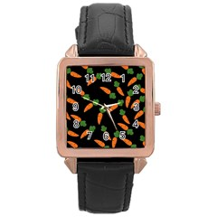 Carrot pattern Rose Gold Leather Watch
