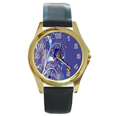 Flowers Butterflies Patterns Lines Purple Round Gold Metal Watch