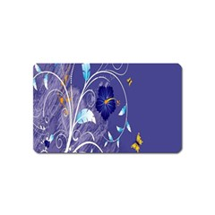 Flowers Butterflies Patterns Lines Purple Magnet (Name Card)