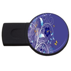 Flowers Butterflies Patterns Lines Purple USB Flash Drive Round (2 GB)